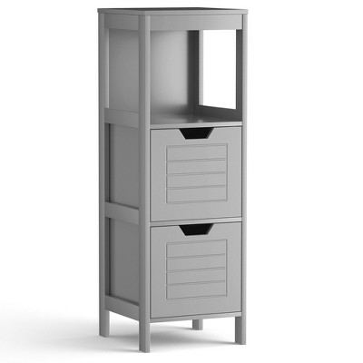 Costway Bathroom Wooden Floor Cabinet Multifunction Storage Rack Stand Organizer Gray\Black