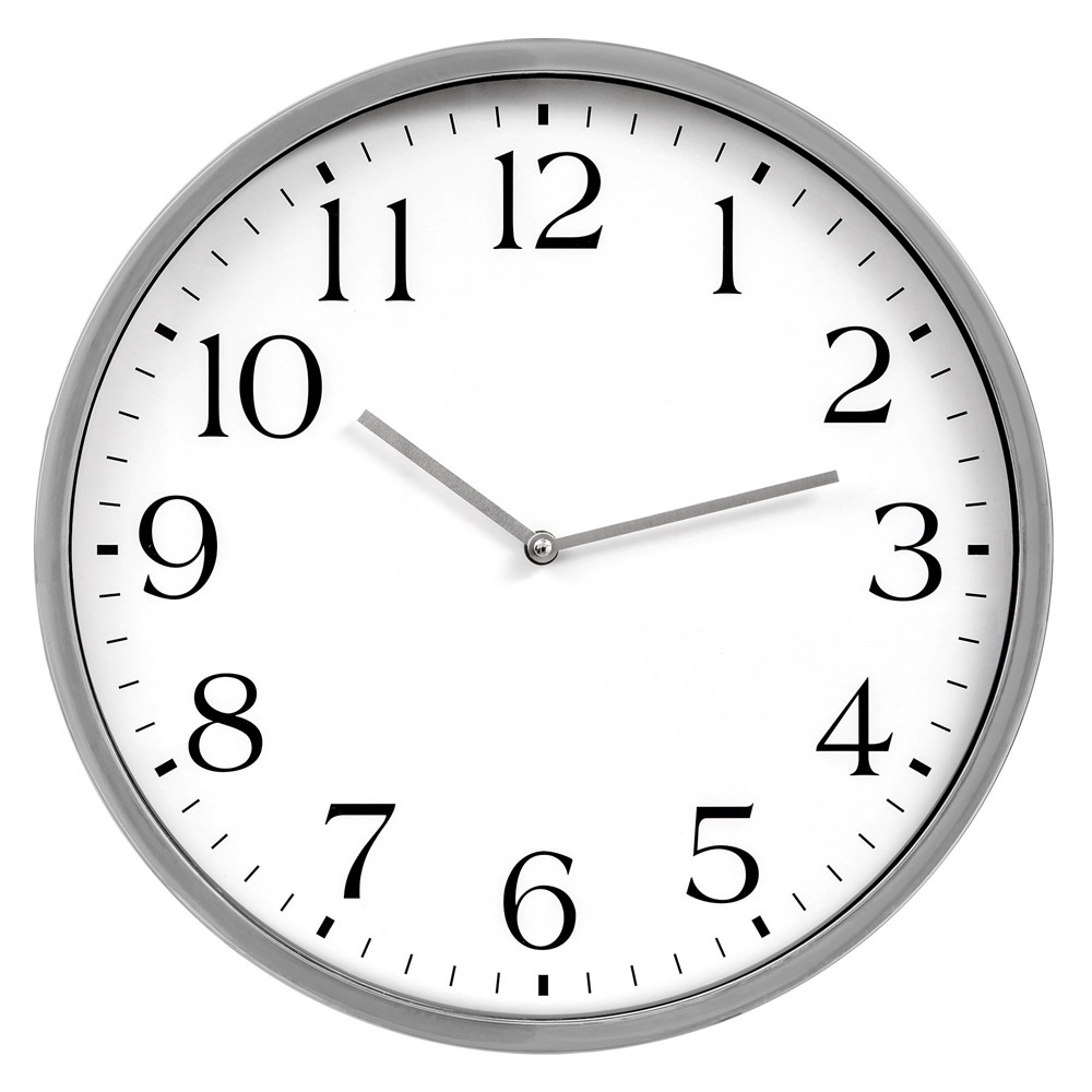 """Image of """"16""""""""x16"""""""" Round Essential Silver and White Wall Clock Silver - Patton Wall Decor"""""""