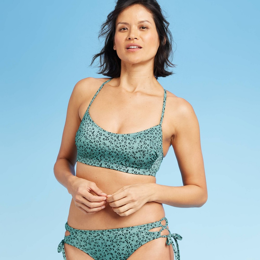 Image of Women's Bralette Bikini Top - All in Motion Light Turquoise Animal Print XS, Women's, MultiColored