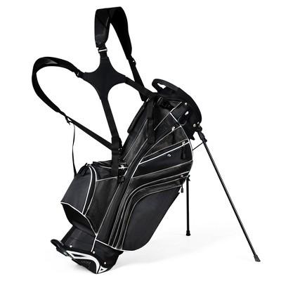 Costway Golf Stand Cart Bag Club w/6 Way Divider Carry Organizer Pockets Storage Black