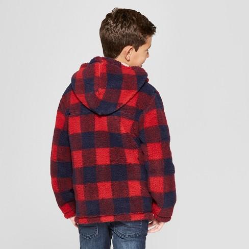 3166d1fd6 Boys  Buffalo Check Sherpa Lined Sweatshirt - Cat   Jack™ Red   Target