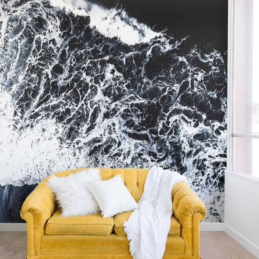 12x8 Ingrid Beddoes Sea Lace Wall Mural Black - Deny Designs
