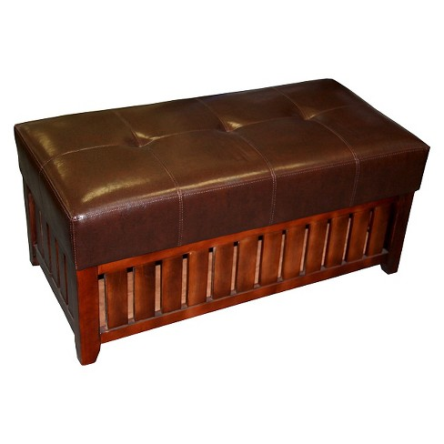 Cushion Storage Wooden Bench Brown, Wood Bench With Storage And Cushion