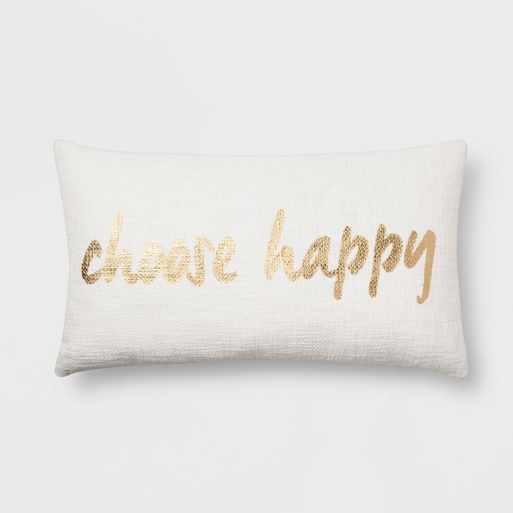 'Choose Happy' Lumbar Throw Pillow - Room Essentials, Ivory