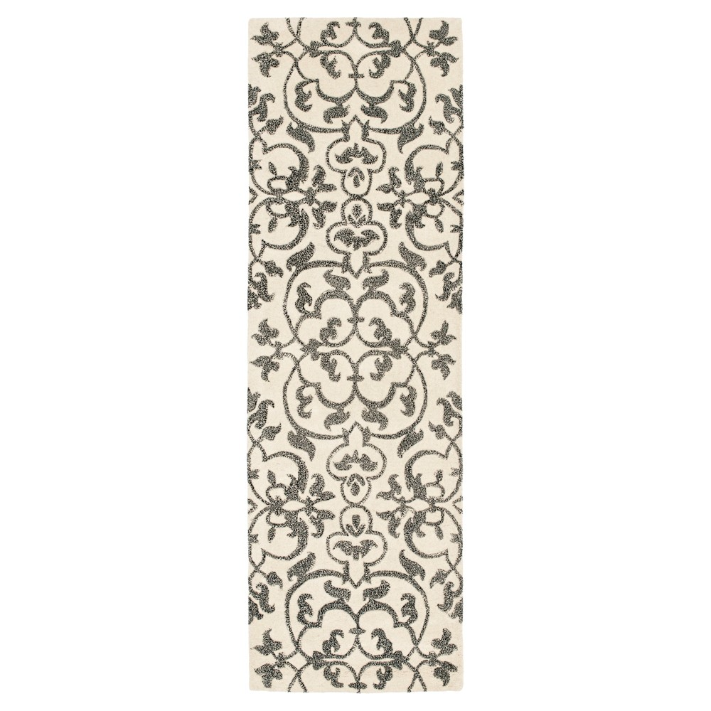 Ivory/Gray Botanical Tufted Runner - (2'6X6') - Safavieh