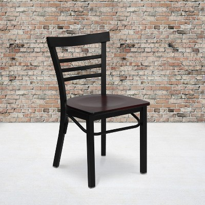 Flash Furniture Black Three-Slat Ladder Back Metal Restaurant Chair