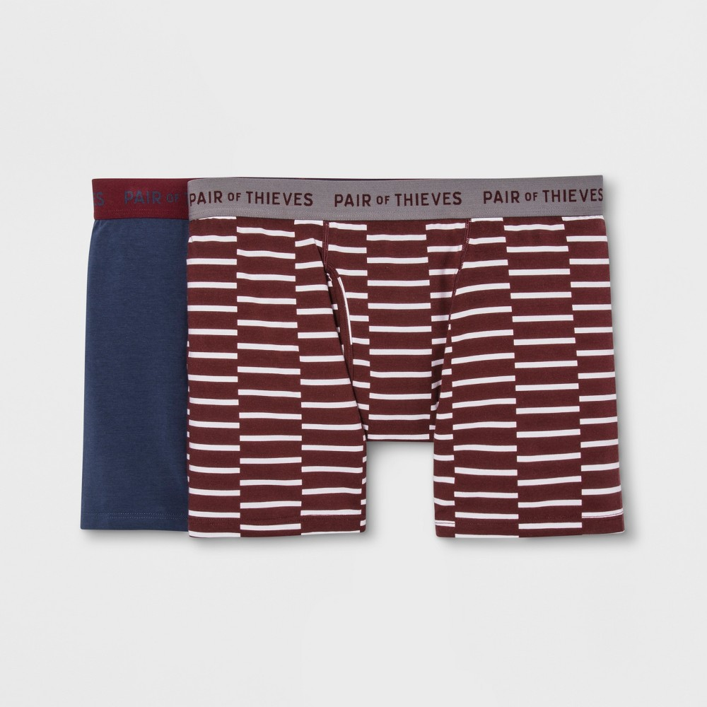 Image of Pair of Thieves Men's SuperSoft Boxer Briefs 2pk - Maroon/Navy S, Men's, Size: Small, Red Blue