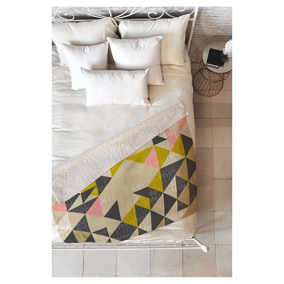 """Beige Geometric Pattern State Nomad Quilt Sherpa Throw Blanket (50""""X60"""") - Deny Designs"""