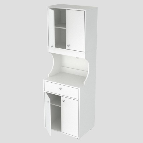 1 Drawer Kitchen/Microwave Storage Cabinet with Open Space White - Inval