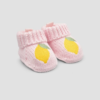 Baby Girls' Lemon Knit Slippers - Just One You® made by carter's Pink Newborn