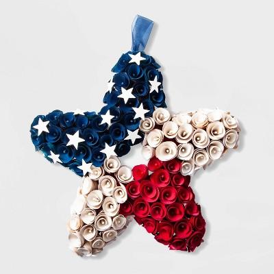 17.8  x 3.6  Patriotic Wood Curl Star Wreath - Lloyd & Hannah