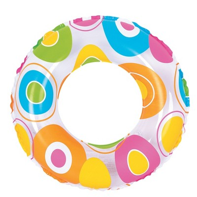 """Pool Central 24"""" Circle Print Inflatable 1-Person Swimming Pool Inner Tube Ring Float - White"""