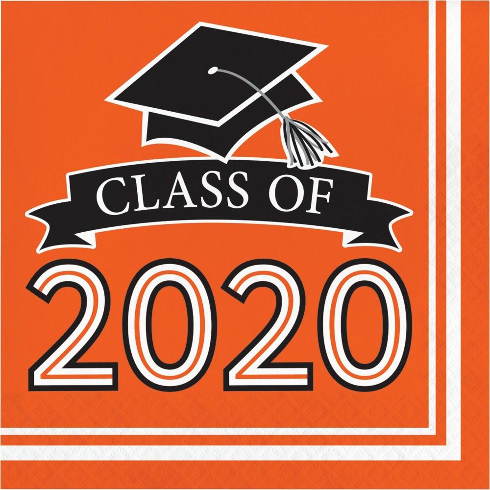 Image of 108ct Class Of 2020 Grad Napkins Orange