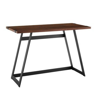 42  Metal Wrap Writing Desk Dark Walnut - Saracina Home