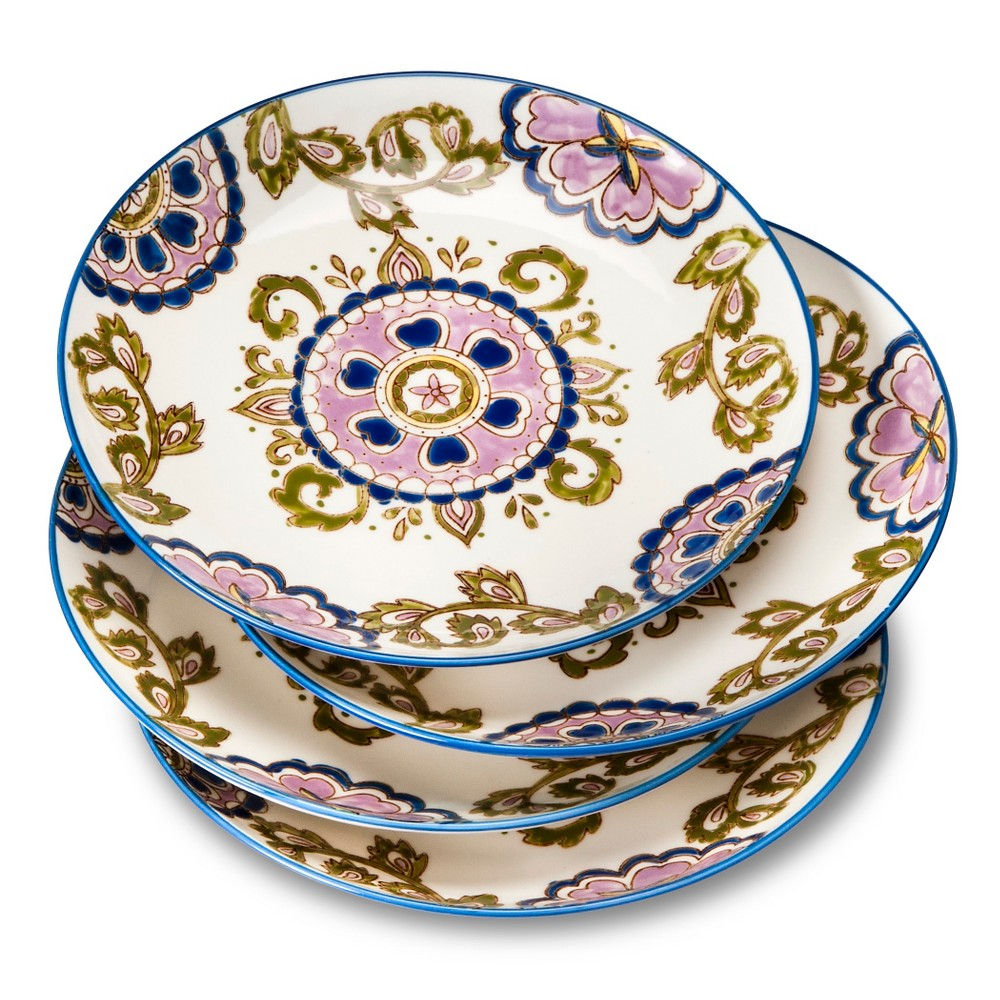 Rosana Medallion Stoneware Salad Plates 8''x8 Cream - Set of 4