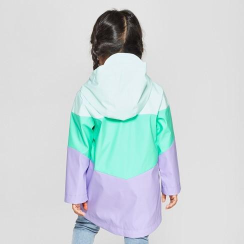 142e6add Toddler Girls' Colorblock Rain Jacket - Cat & Jack™ Aqua 6X : Target