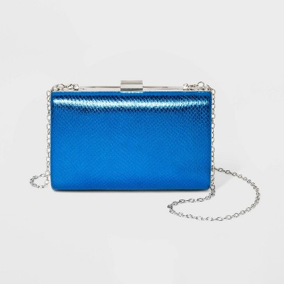 Estee & Lilly Rectangle Minaudiere Metal Clasp Closure Clutch - Blue