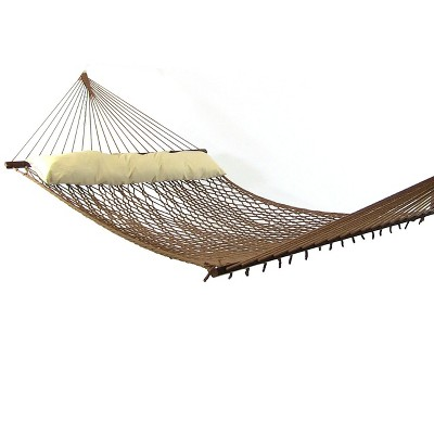 Sunnydaze Double Wide Two-Person Polyester Rope Hammock with Spreader Bars for Patio, Yard and Porch - Brown