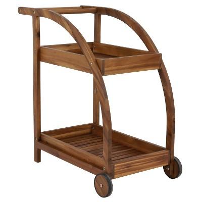 Bellamy Wood Two Shelf Tea Trolley Teak - Décor Threapy