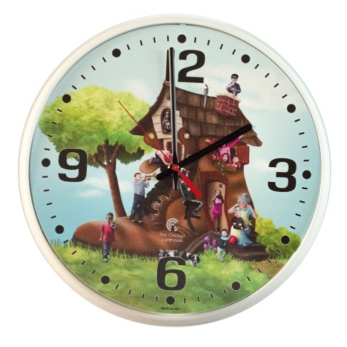 "Chicago Lighthouse 12.75""x1.5"" Treasures Slimline Frame Children's Decorative Wall Clock - image 1 of 3"