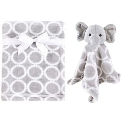 Hudson Baby Infant Plush Blanket with Security Blanket, Neutral Elephant, One Size