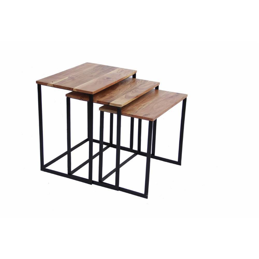Wooden Nesting Coffee (Brown) End Tables With Metal Base Coffee - The Urban Port