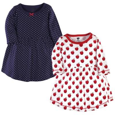 Hudson Baby Infant and Toddler Girl Cotton Long-Sleeve Dresses 2pk, Apple