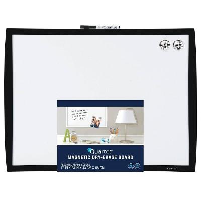 """Quartet 17"""" x 23"""" Magnetic Dry Erase Board - Black Frame"""