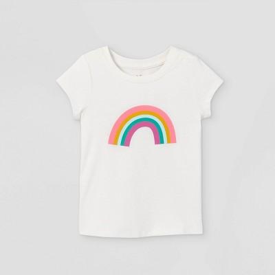 Toddler Girls' Rainbow Short Sleeve Graphic T-Shirt - Cat & Jack™ Cream