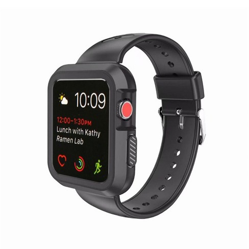 Valor Black/Black Silicone Sport Watchband with Case For Series 1/2/3 38mm Apple Watch iWatch - image 1 of 4