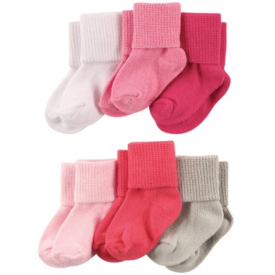 Luvable Friends Baby Girl Newborn and Baby Socks Set, Coral Pink