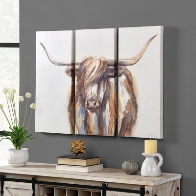 Set of 3 Highland Cow Canvas - FirsTime