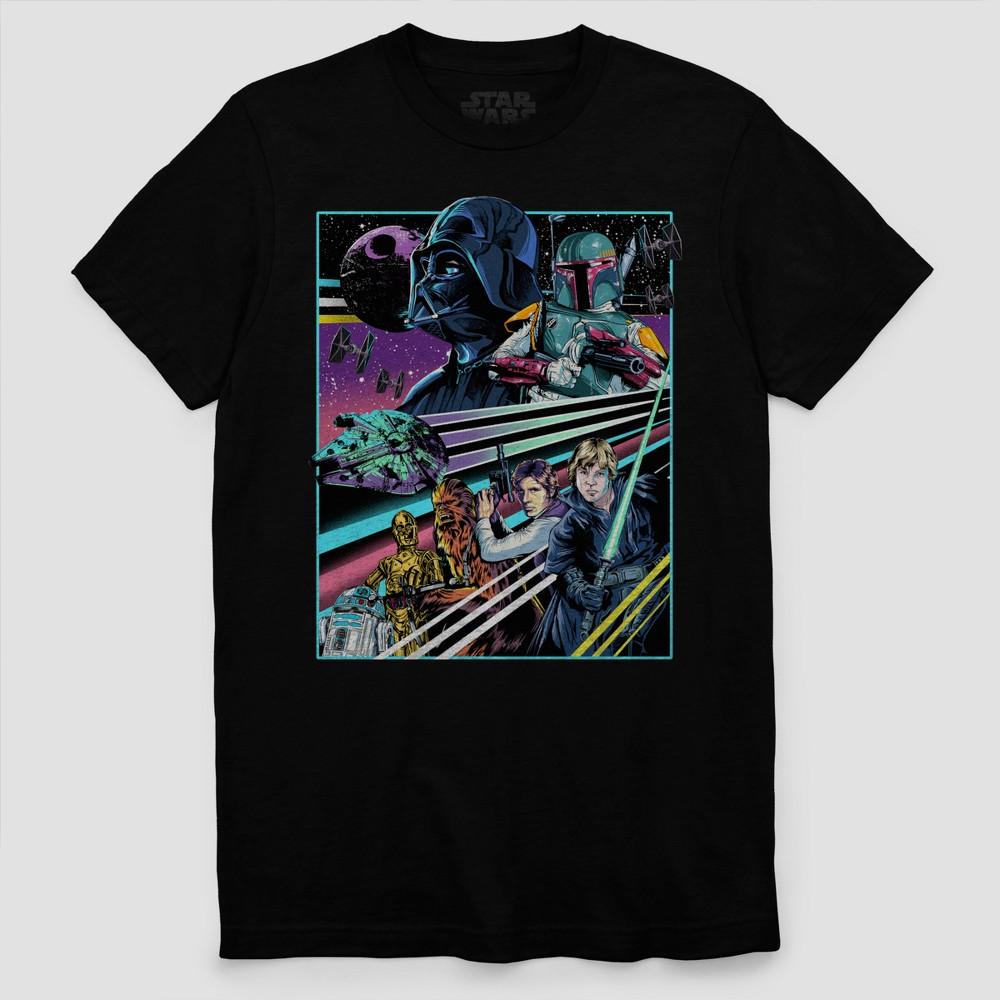 Men's Star Wars Poster Art Short Sleeve T-Shirt - Black 2XL