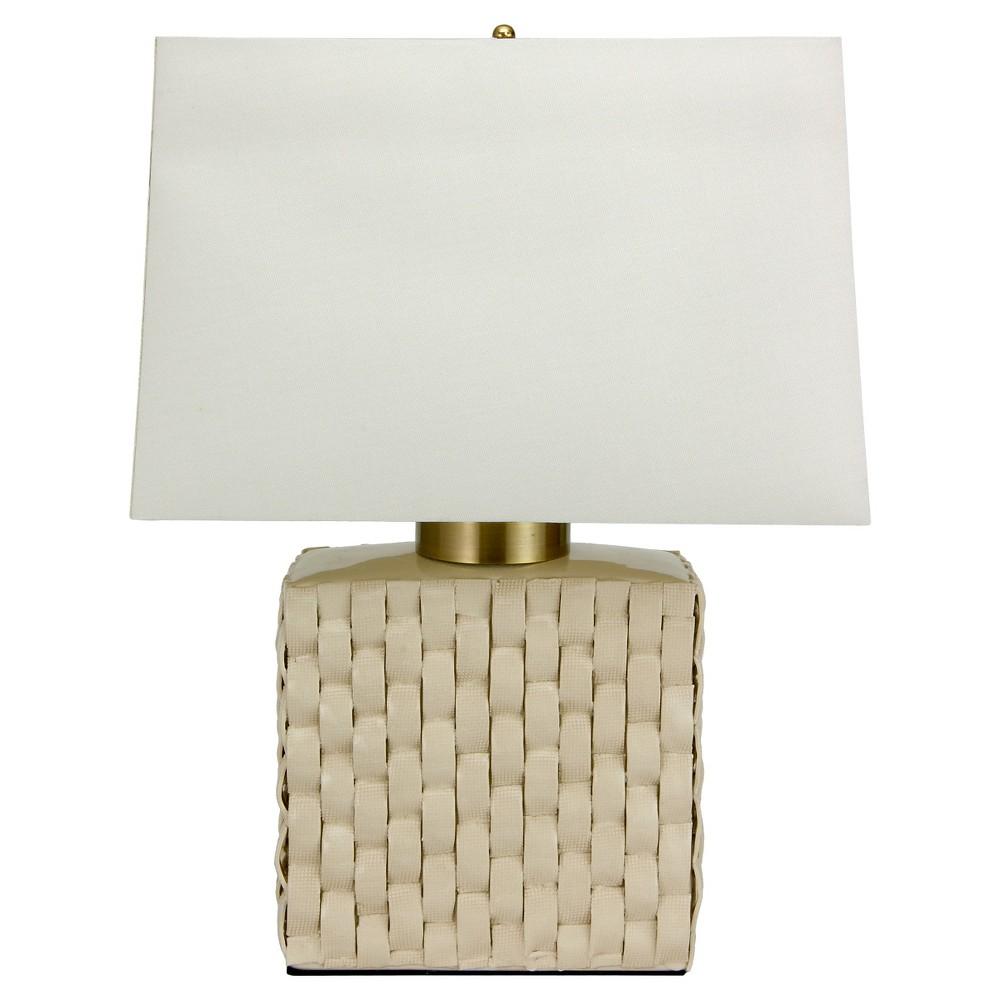 Image of Basket Weave Cream (Ivory) Porcelain Jar Lamp - Cream (23)