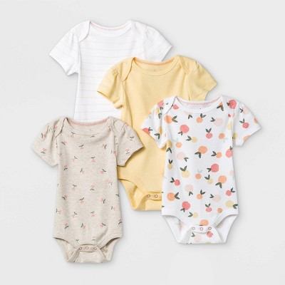 Baby Girls' 4pk Fruit Print Short Sleeve Bodysuit - Cloud Island™ Yellow/Brown/White 12M