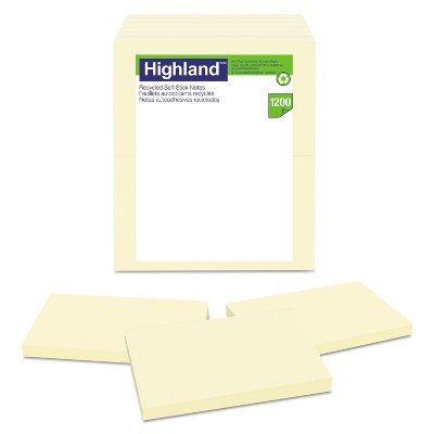Highland Recycled Self Stick Notes 3 x 5 Yellow 100 Sheets/Pad 12 Pads/Pack 6559RP