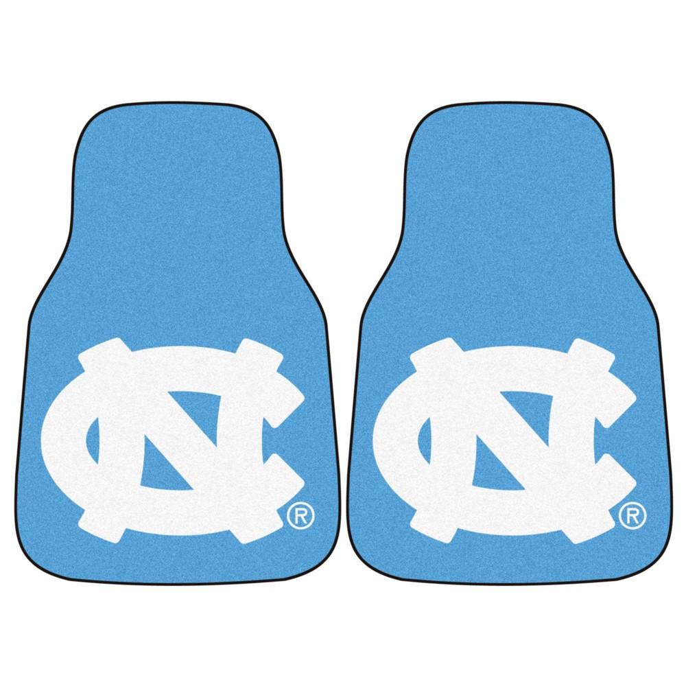 Ncaa University Of North Carolina Tar Heels Mascot Carpet Car Mat Set 2pc