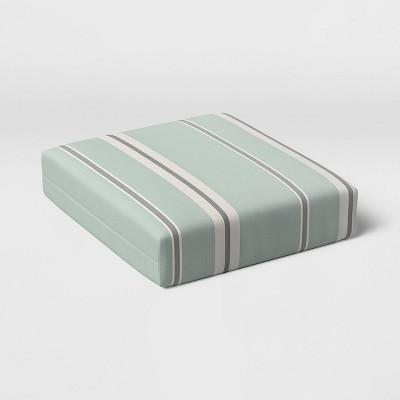 Woven Navy Stripe Outdoor Deep Seat Cushion DuraSeason Fabric™ Aqua - Threshold™
