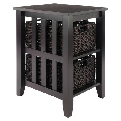 Morris Side Table with Baskets Espresso/Chocolate - Winsome