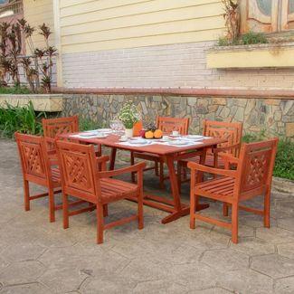 Malibu 7pc Wood Extendable Outdoor Patio Dining Set - Tan - Vifah