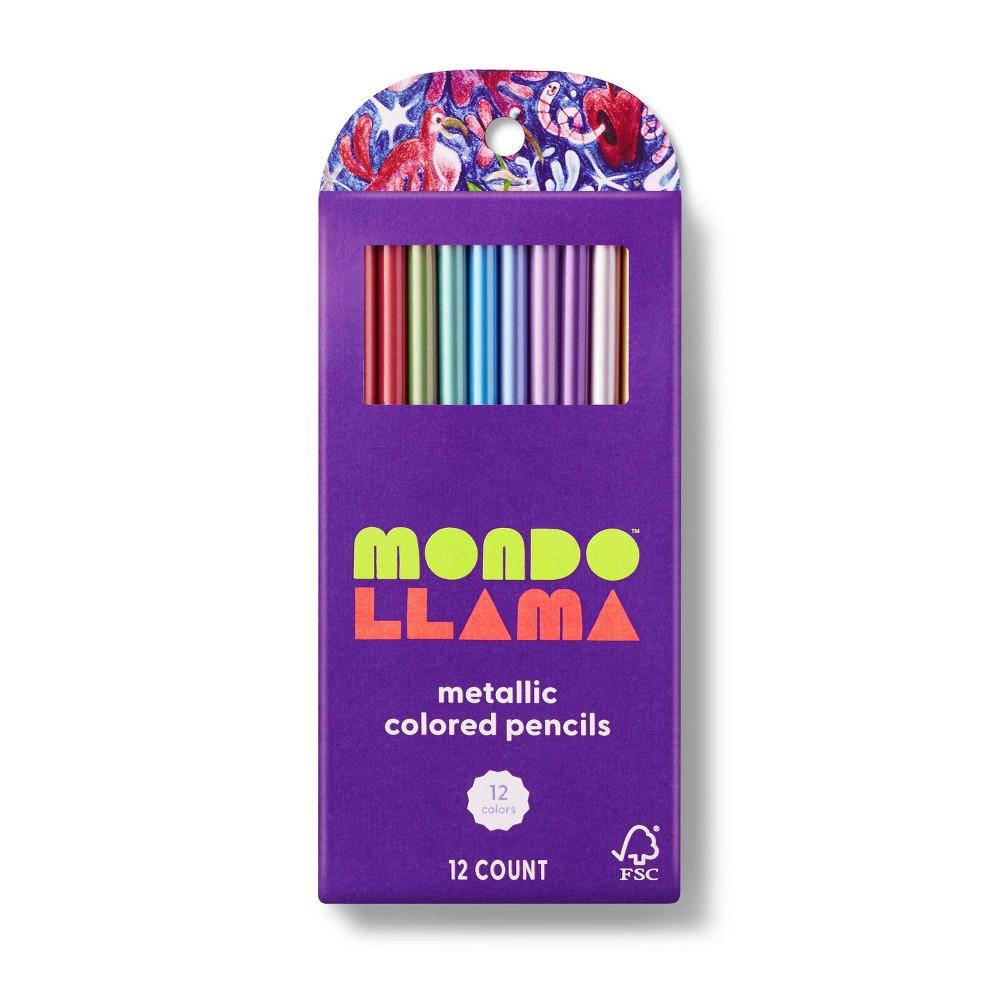 12ct Colored Pencils Metallic Mondo Llama 8482