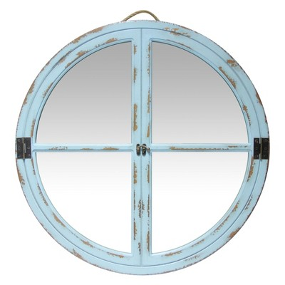"23.5"" Decorative Square Wall Mirror Light Blue - Infinity Instruments"