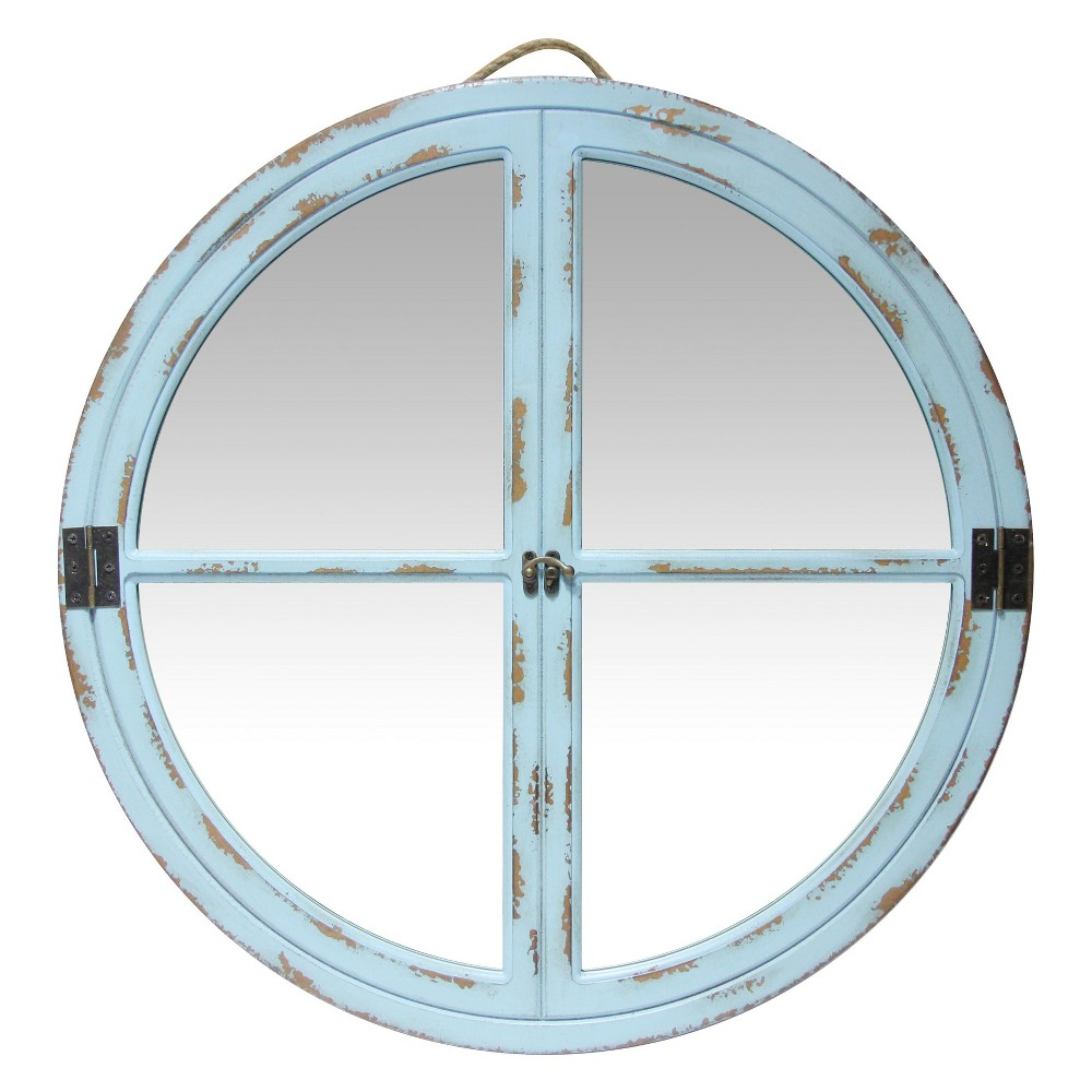 "Image of ""Infinity Instruments 23.5""""x23.5"""" Rustic Vitre Decorative Wall Mirror Light Blue"""