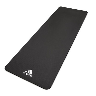 Adidas ADYG-10100BK Universal Exercise Roll Up Slip Resistant Fitness Pilates and Yoga Mat, 8mm Thick, Black