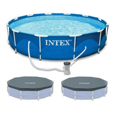"Intex 12'x30"" Metal Frame Swimming Pool with Filter Pump & 2 Pool Debris Cover"