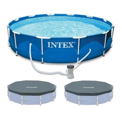 "Intex 12'x30"" Metal Frame Swimming Pool with Filter Pump & 2 Pool Debris Cover - image 1 of 4"