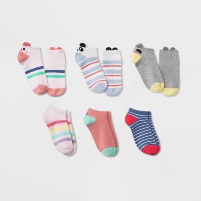 Girls' 6pk Critter Super Soft No Show Socks - Cat & Jack™