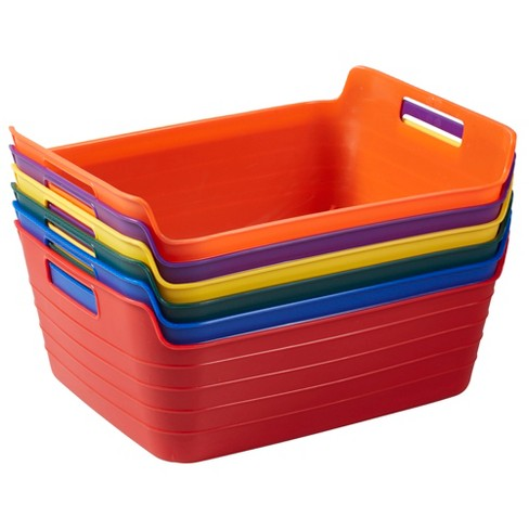Ecr4kids Bendi Bin Storage Containers With Handles Flexible Stacking Bins For Toys Puzzles Games And More 6 Pk Target