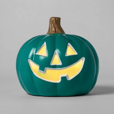 "9"" Lit Pumpkin with Happy Face Teal Halloween Decorative Prop - Hyde & EEK! Boutique™"