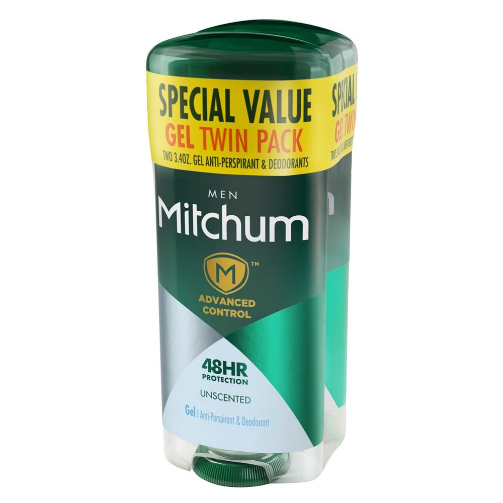 Image of Mitchum Men's Antiperspirant & Deodorant Gel Unscented - 2pk - 3.4oz